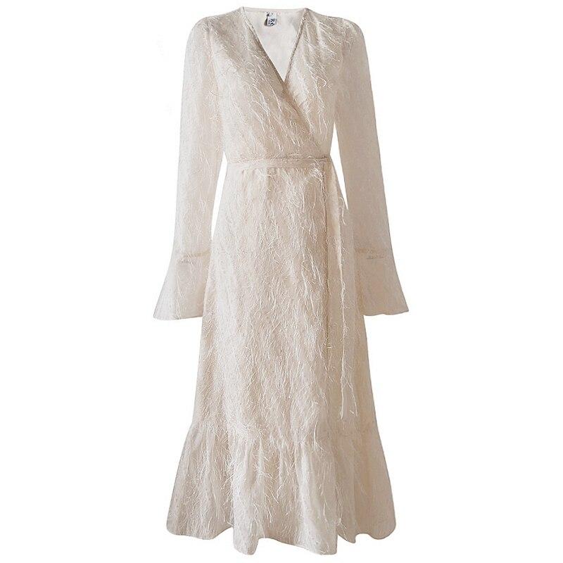 2019 nova moda verão roupas femininas streetwear solto com decote em v branco pena borlas chalaza feminino w169 - 5