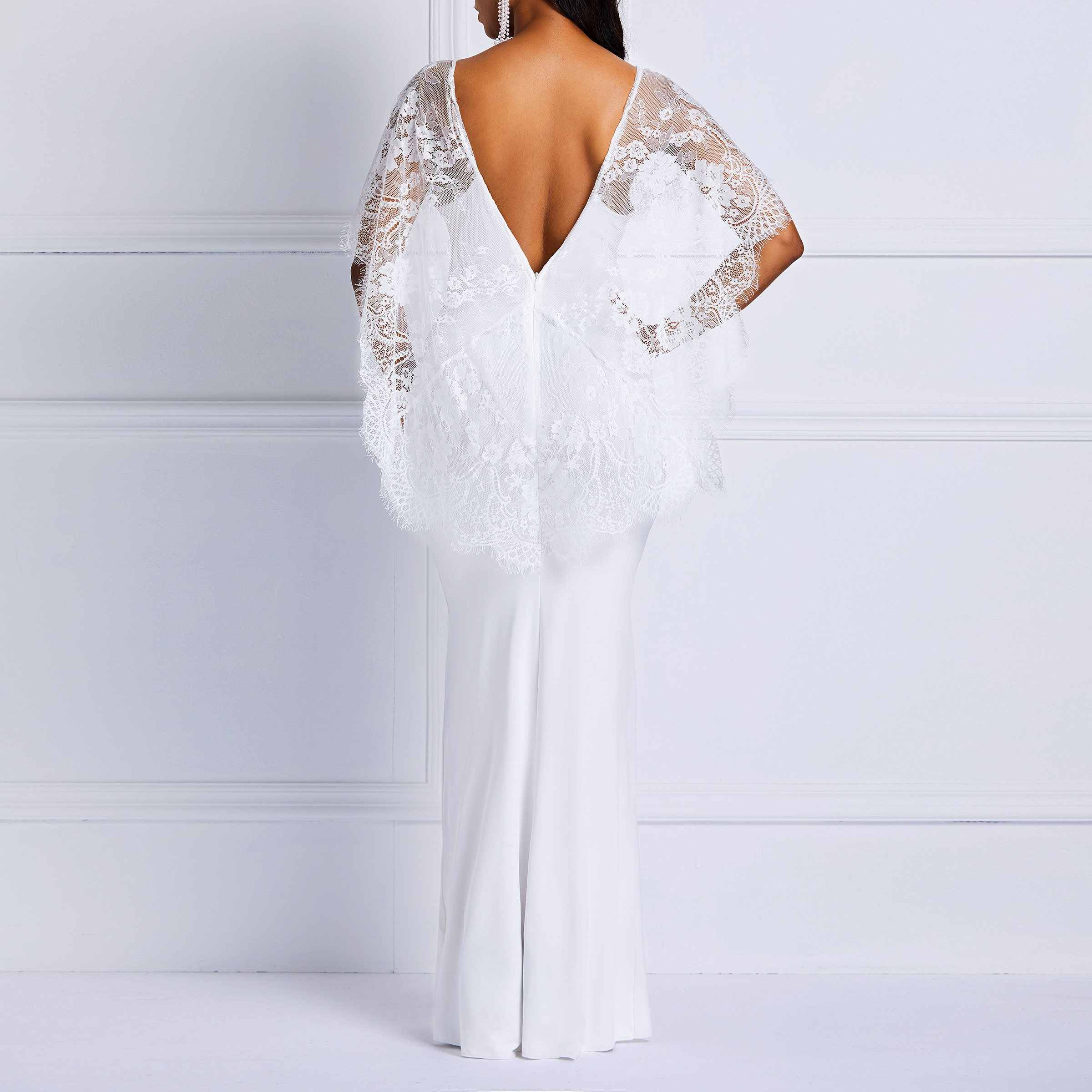 b87850edc074 ... Clocolor Long Summer White Lace Dress Women Backless Bodycon Sexy  Simple Elegant Plain Prom Evening Party