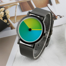 Stylish Mens Watches Unique Purplr/Blue/Green Design Wristwatch Mesh Stainless Steel Band Creative Coloful Turntable Clock Man