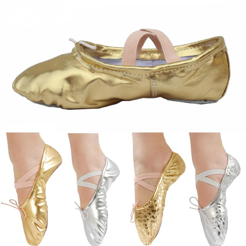 New Children Adult Sports Ballet Dancer Shoe Dance Feet Wearing Shoes Soft Pointed Sequin Leather Ballet Dancing Shoes #1126