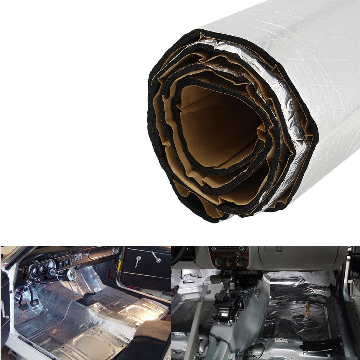 100x250 cm voiture bruit Deadener tapis feuille bouclier Deadener isolation tapis aluminium coton voiture-style