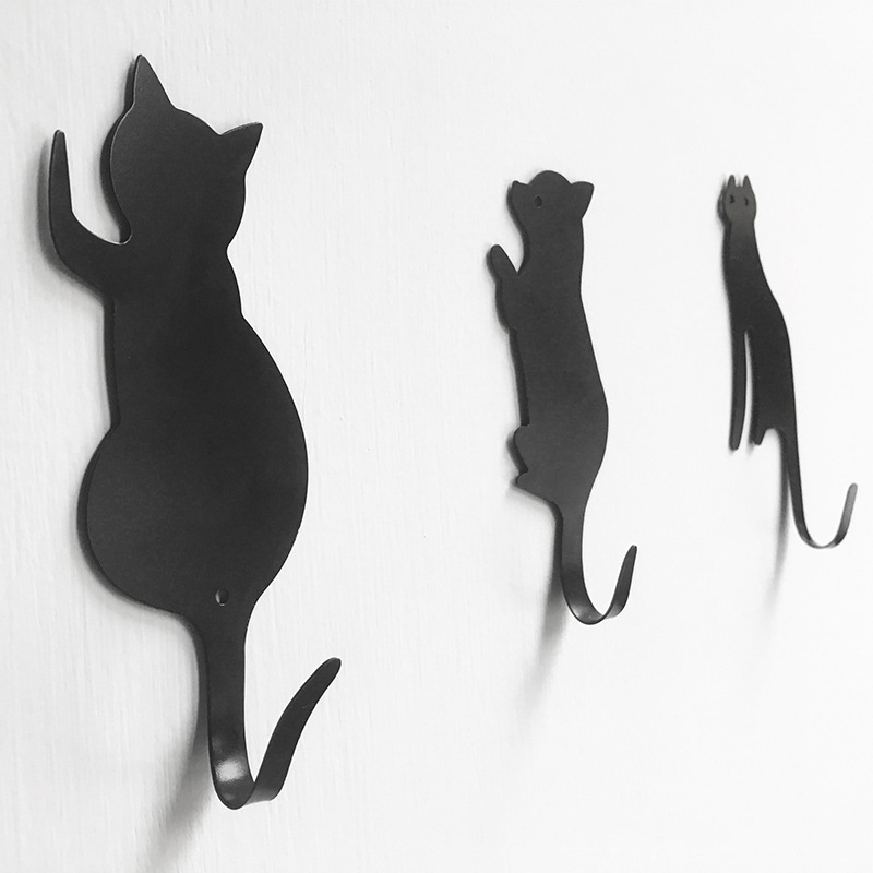 3 Pcs Cute Cats Dog Wall Mounted Simple Design Metal Hat Key Hanging Clothes Coat Rack Hooks Adhesive