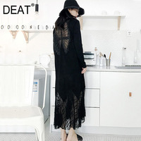 DEAT 2019 New Spring And Summer Women Dress Lace Split Joint Fish Tail Dress Round Neck Full Sleeves Backless Vestido WD84401