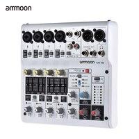 Ammoon-consola mezcladora de AM-4R, consola mezcladora de Audio de 6 canales, tarjeta de sonido, consola mezcladora Digital integrada de 48V, potencia fantasma