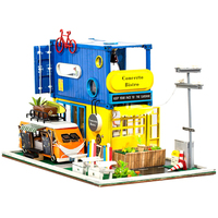 Children DIY Creative Handmade Theme Wooden Cabin Assembly Building Model Toy Set with LED Light Assemble Kit Container