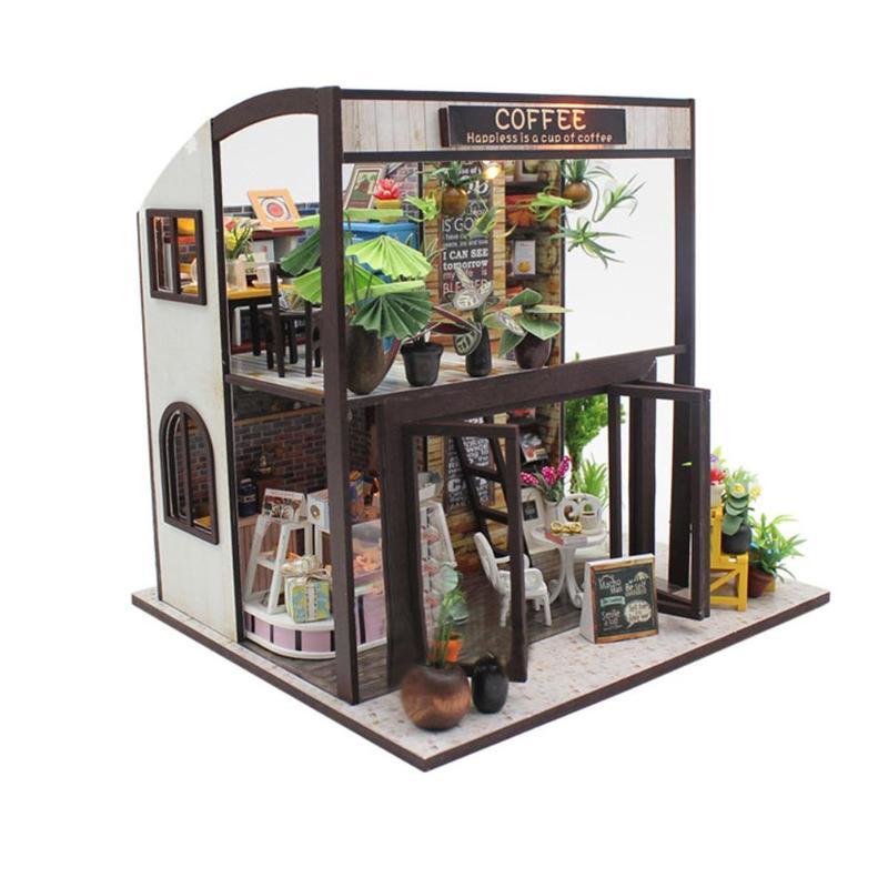 Casa de Café De Madeira DIY Brinquedo de Montagem Modelo De Construção Em Miniatura Casa De Bonecas Artesanato Presente de Aniversário