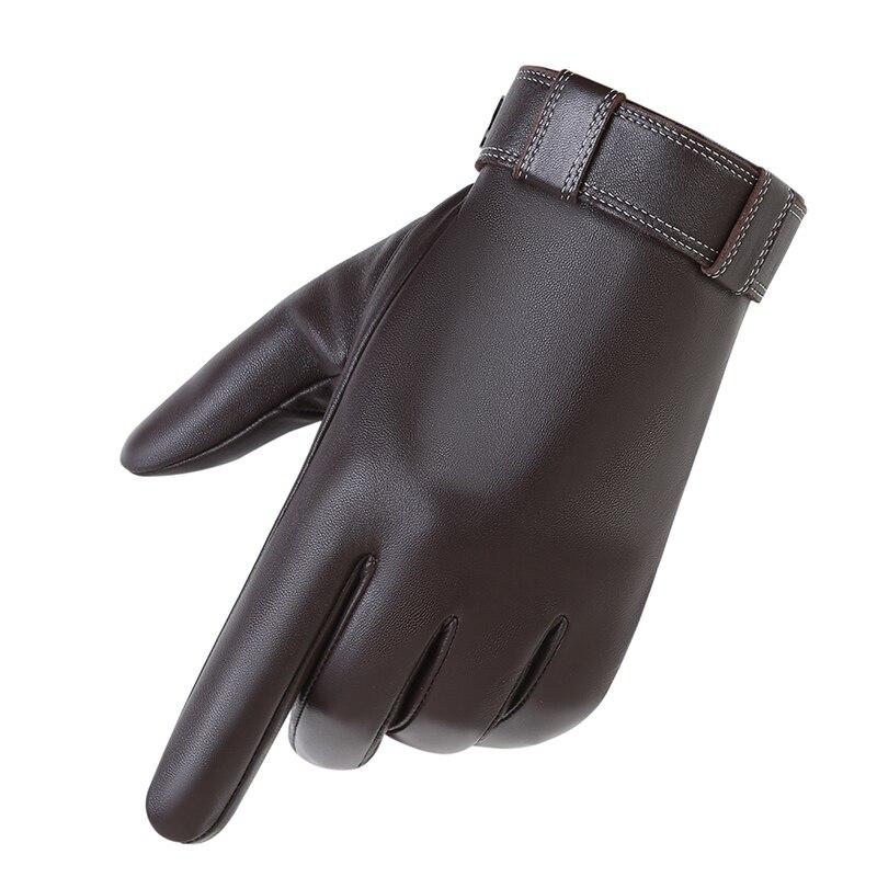 Gants en cuir véritable homme hiver chaud en peau de mouton téléfinger gants moto pilote ajouter velours chaud écran tactile goves MLZ113