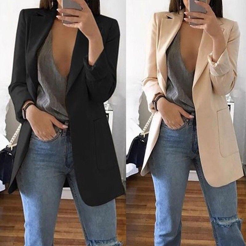 New Women's Casual Mid Coat Lapel Slim Cardigan Outdoor Work Suit Jackets Coat Outerwear Top Autumn