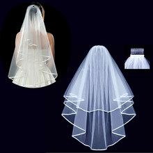 Double White Bridal Wedding Veil Bride To Be Satin Sash Bachelorette Party girls Hen Party Bridal Shower Kit Decoration Supplies(China)
