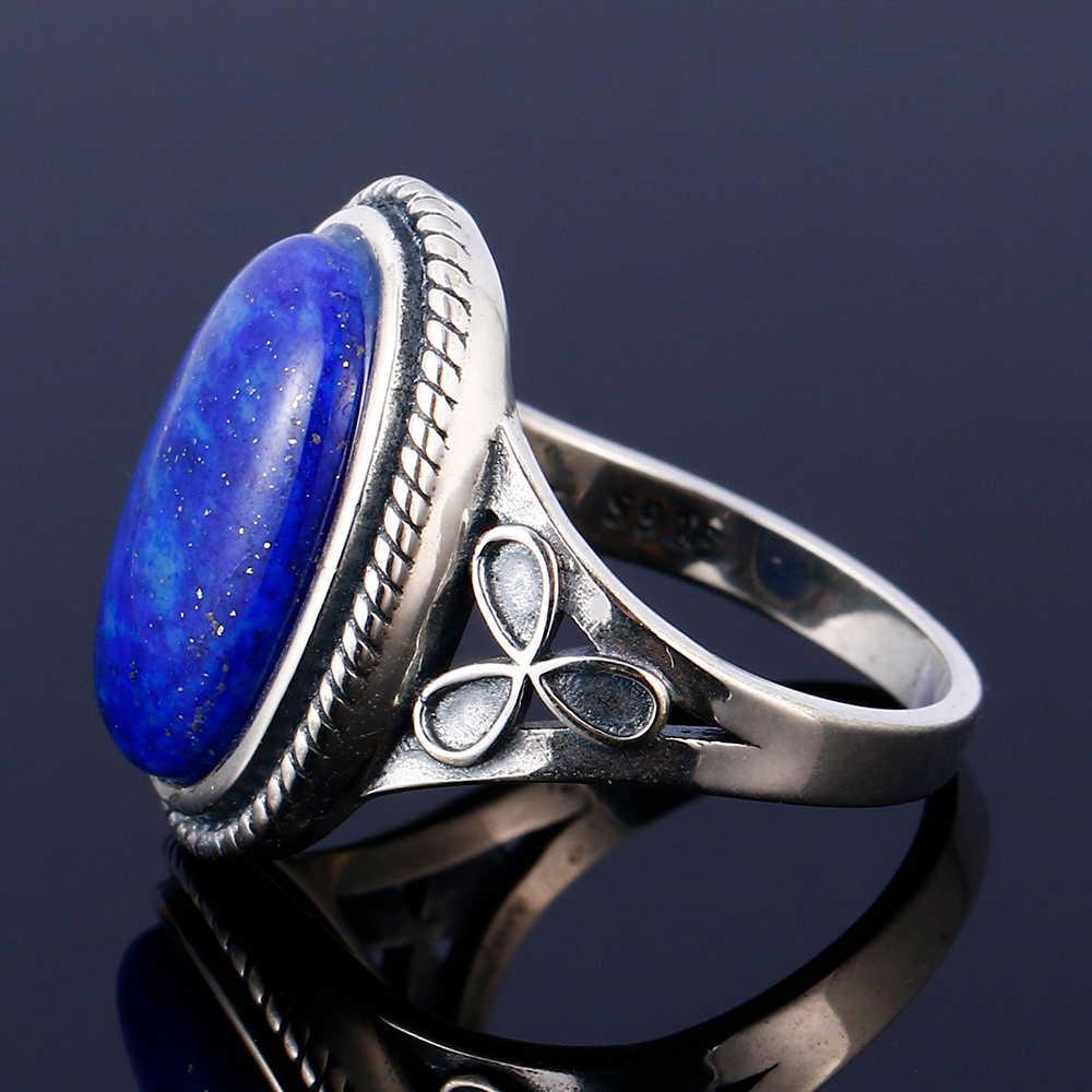 ผู้ชายและผู้หญิงเงิน 925 เครื่องประดับ Retro แหวนมูนสโตนธรรมชาติและธรรมชาติ Lapis และแหวนหยกสีขาว 11x17 มม.รูปไข่ขนาดใหญ่
