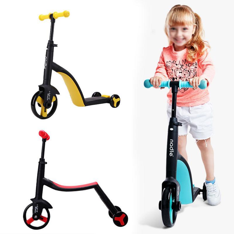 Enfants Scooter Tricycle bébé 3 en 1 enfants Balance vélo tour sur jouets bébé Skateboard extérieur Tricycle poussette pour garçons filles