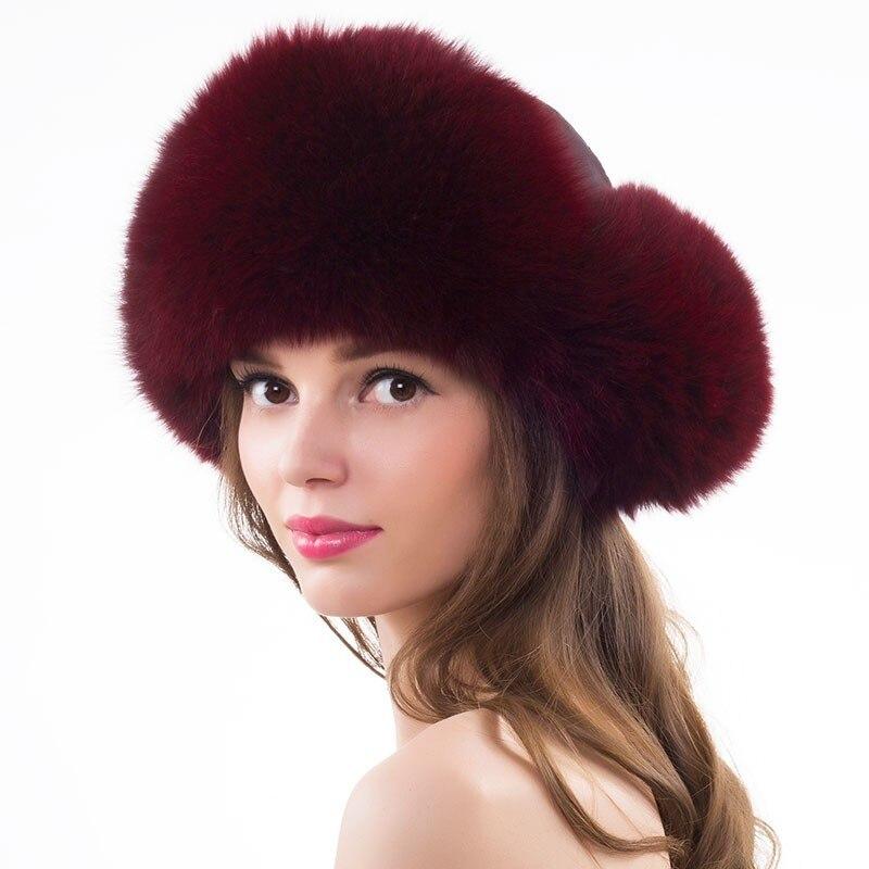 Women Lovely Fox Fur Hats Raccoon Ushanka Hat Winter Thick Bomber Cap