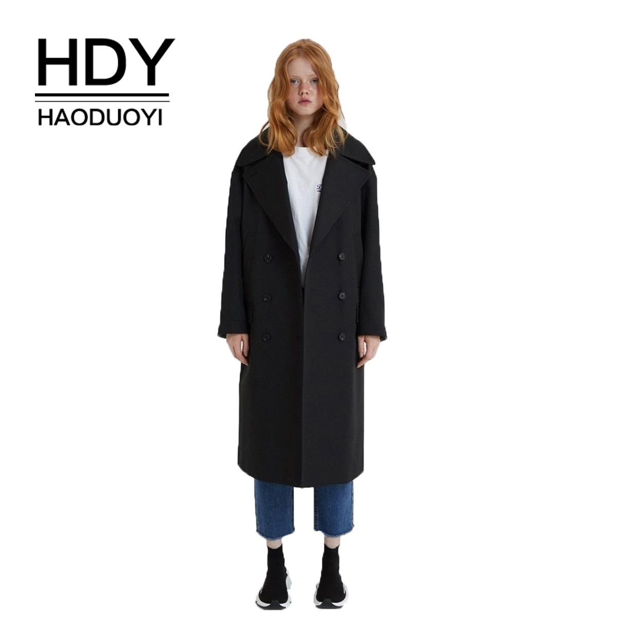 HDY haoduoyi Classic Loose Large Lapel Single-breasted Overcoat Cuff Plaid Long Woolen Coat