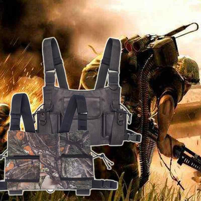 Ngoài trời Chiến Thuật Quân Sự Vest Không Dây Người Gọi Hai Cách Phát Thanh Quân Đội Áo Khoác Sáng Màu Xanh Lá Cây Đài Phát Thanh Ngực Khai Thác Ngực Bảo Vệ Bánh Răng