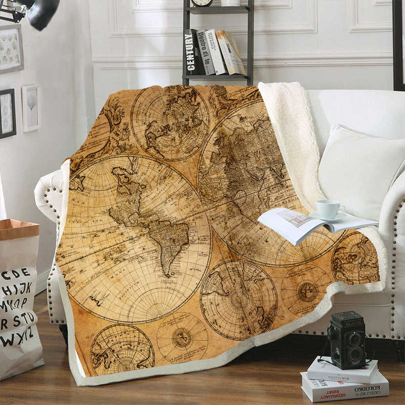 Retro World Map Velvet Plush Throw Blankets For Kid Adults Sherpa Fleece Yellow Blanket For Beds Sofa Thin Quilts Home Decor