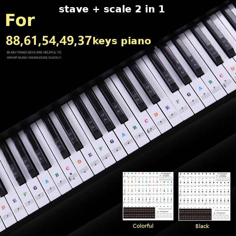 Zebra 49 54 61 88 Keys Electronic Piano Keyboard Sound Name Stickers Key Sticker Piano Stave Music Decal Label Note Sticker sticker