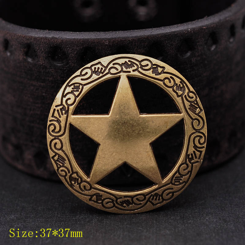 10pcs Antique Brass Western Engraved Texas Ranger Star Leathercraft Hatband Conchos 1-1/2