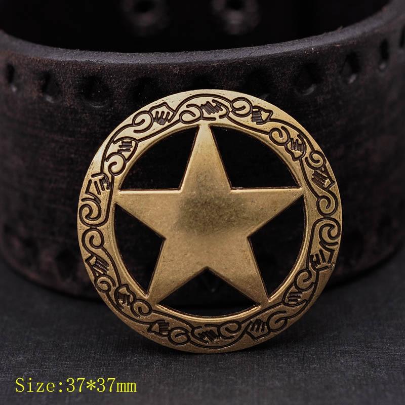 10pcs Antique Brass Western Engraved Texas Ranger Star Leathercraft Hatband Conchos 1-1/2