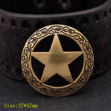 "10 stks Antiek Messing Westerse Gegraveerde Texas Ranger Ster Leathercraft Hatband Conchos 1-1/2 ""Schroef Terug(China)"