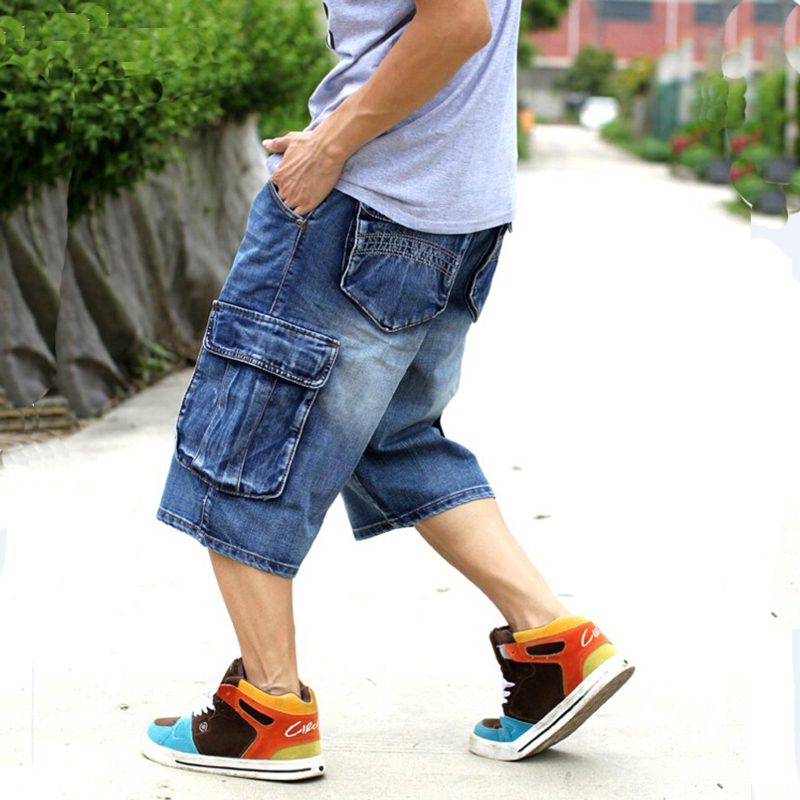 Image 3 - Mens Plus Size Loose Baggy Denim Short Men Jeans Fashion Streetwear Hip Hop Long 3/4 Capri Cargo Shorts Pocket Bermuda Male Blue-in Casual Shorts from Men's Clothing