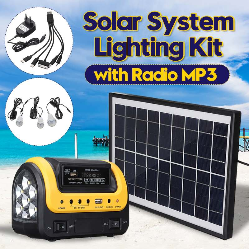 Smuxi Home USB Charger System Solar Power Panel Generator Kit with MP3 Radio 3 LED Bulbs Light Emergency Indoor Outdoor Lighting