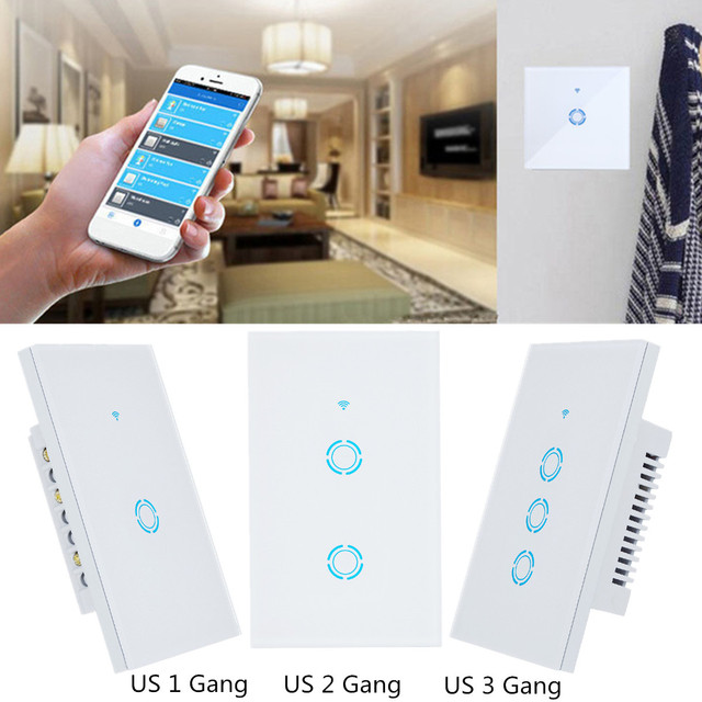 """מגע-פנל מתג עבור אמזון Alexa 2500 W האיחוד האירופי/ארה""""ב/בריטניה Plug 1 2 3 כנופיית WIFI חכם וול אור מרחוק באמצעות טלפון חכם 50/60Hz App"""