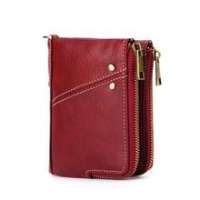 Купить с кэшбэком Short Retro Genuine Leather Wallet Women Wallets Money Purse Coin Pocket Zipper Woman Clutch Bags Card Holder Cartera Mujer