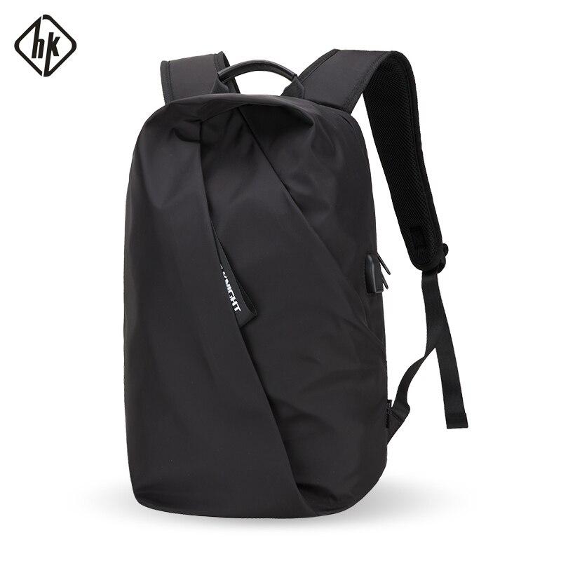 Hk Brand Men's Backpack Fashion Multifunction USB Charging Men 14inch Laptop Backpacks Travel Personality Backbag For Women
