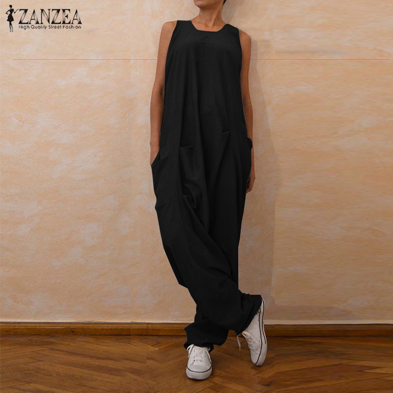 S 5XL ZANZEA Summer Sleeveless Party Drop-Crotch Pants Vintage Solid   Jumpsuits   Long Harem Overalls 2019 Women Casual Romper