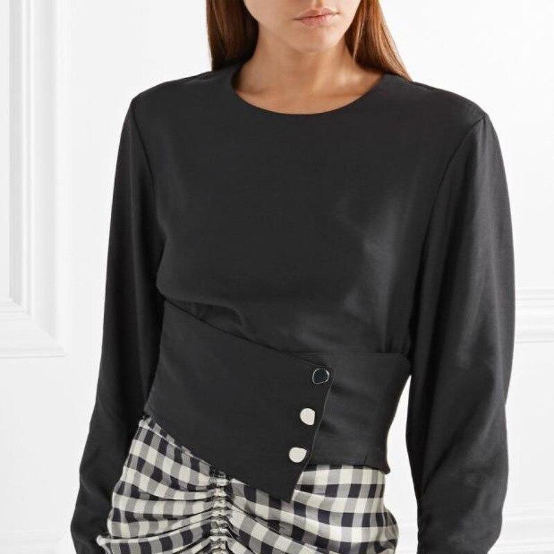 Mode white Casual O Femmes De R032 Boutons Court Taille Fold Black Blouse Automne 2018 Arrivée Chemise Femme Manches Nouvelle Long cou qpIyOR