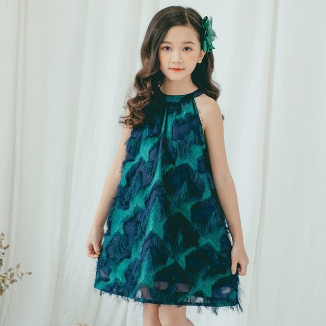 Teenage Girl Summer Dress Size 10 12 14 White Party Wedding Little Girl Dresses Princess Kids Clothes Age 4 6 8 Green Clothing 2