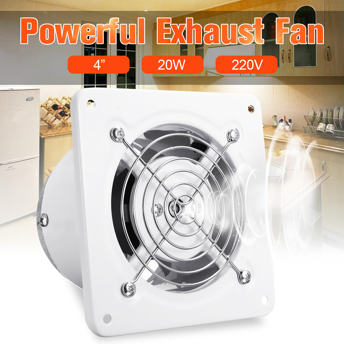 4 Inch 20W Bathroom Extractor Exhaust Fan Duct Booster Fan Blower Air Ventilation Vent Toilet Kitchen Hanging Wall Window Glass