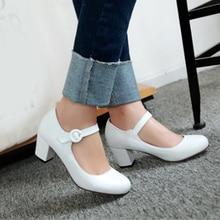 חדש נשים אמצע עקבים סקסיות מסיבת עבה העקב עגול הבוהן אבזם רצועת משאבות עור מפוצל גבירותיי מתוק נעליים שחור לבן ורוד