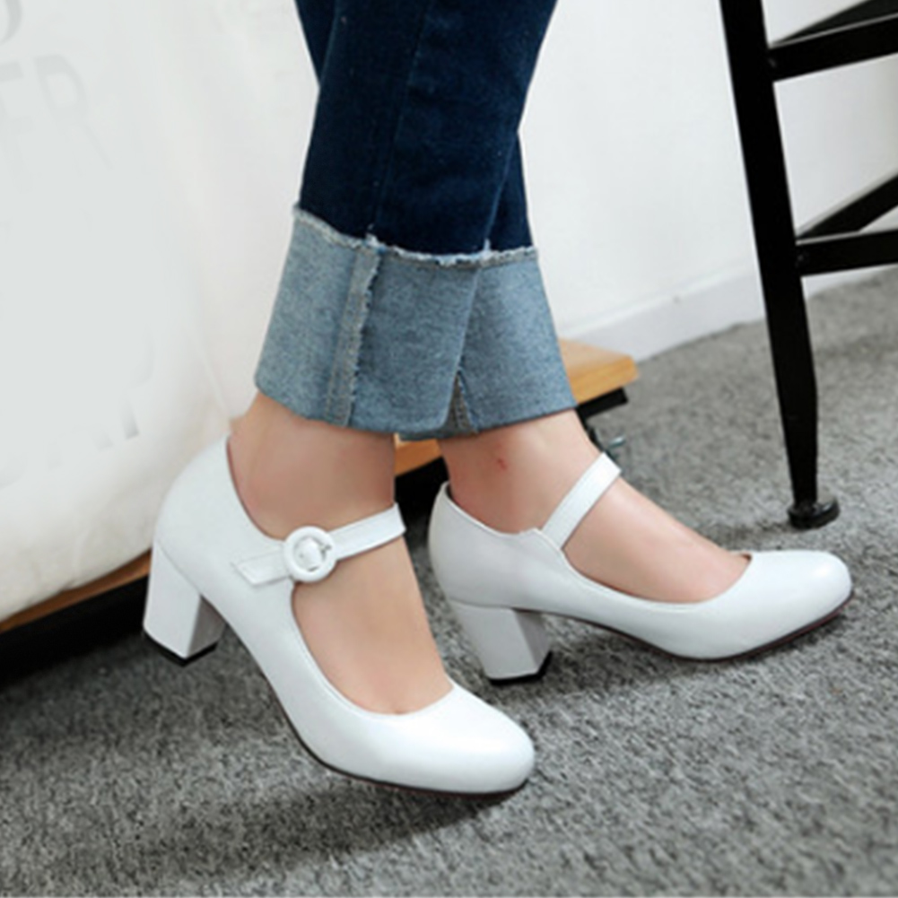 New Women Mid Heels Mary Janes Sexy Party Thick Heel Round Toe Buckle Strap Pumps PU Leather Ladies Sweet Shoes Black White Pink