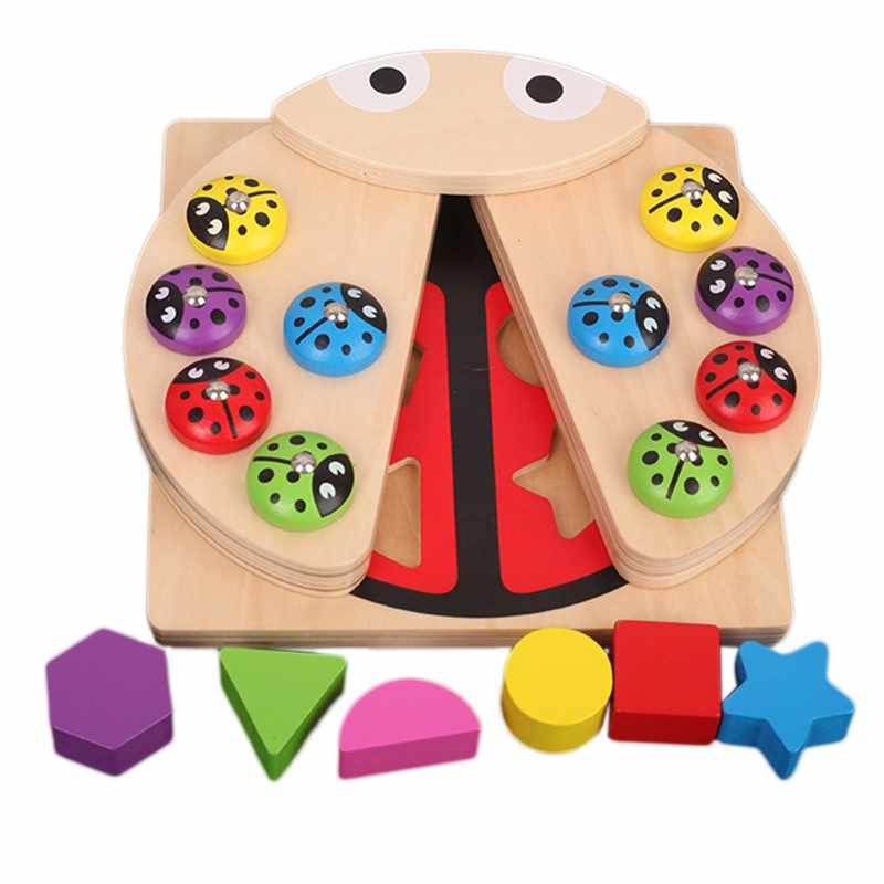 2 In 1 Montessori Educatief Houten Speelgoed Voor Kinderen 3d Puzzels Geometrische Match & Magnetische Vissen Spelletjes Kids Houten Speelgoed Gif Rillingen En Pijnen