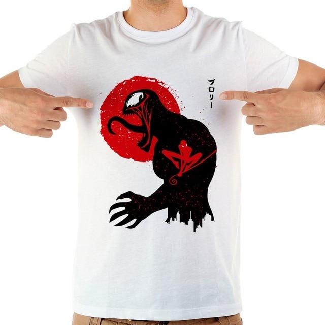 Spiderman veneno Simbiota jollypeach fresco t shirt dos homens da marca de verão new white homme ocasional de manga curta anime tshirt