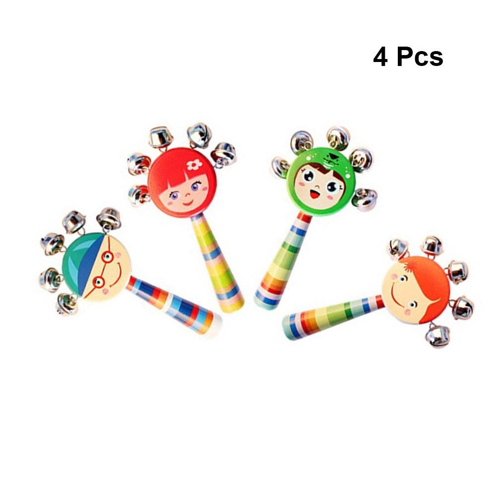 Agressief 4 Pcs Handbells Leuke Cartoon Lachend Gezicht Houten Rammelaars Educatief Speelgoed Hand Schudden Klokken Bed Bells Voor Peuters Kids Baby Het Comfort Van Het Volk Aanpassen