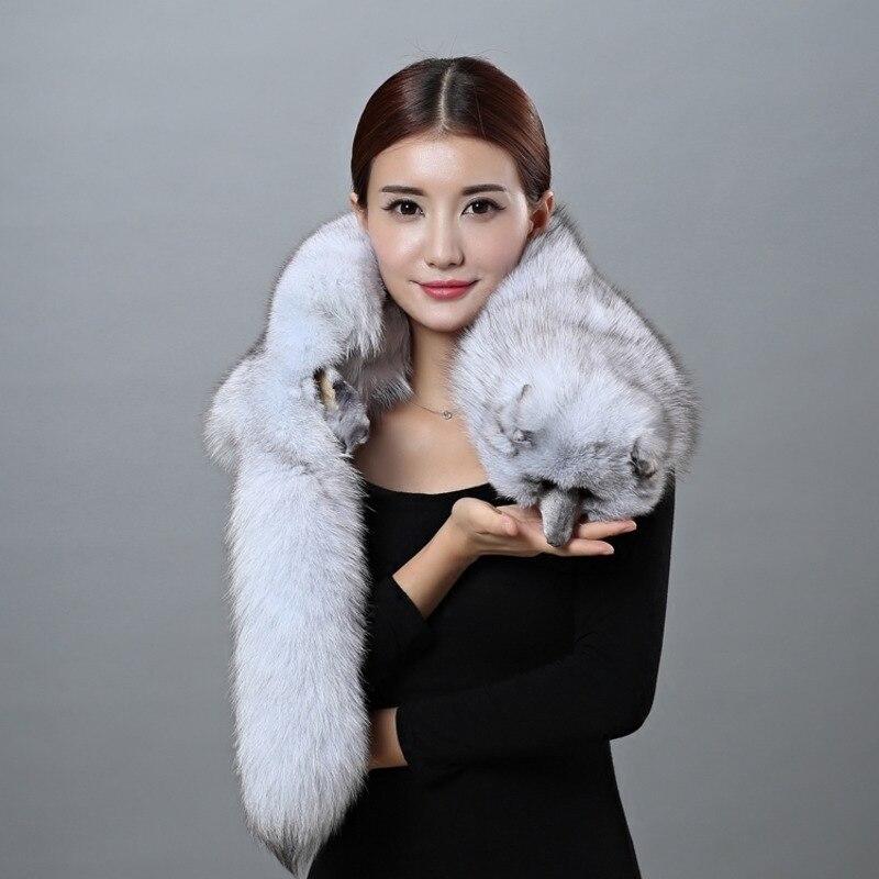 Écharpe renard hiver fourrure de renard étole Wrap col écharpe moelleux naturel blanc hiver châle étole écharpes