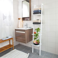 White Modern stand ladder Wall shelf made of wood with four floors FRG15 W