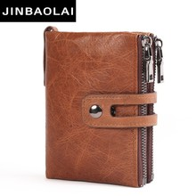 JINBAOLAI Genuine Leather Men Wallet Small Men Walet Zipper Hasp Male Portomonee Short Coin Purse Brand Purse Carteira For Rfid недорого