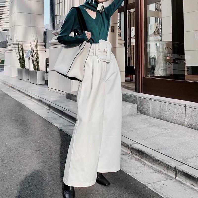 [LIVIVIO] Casual Black Trousers For Women High Waist Bandage   Wide     Leg     Pants   Female Spring Autumn 2018 Korean Fashion New