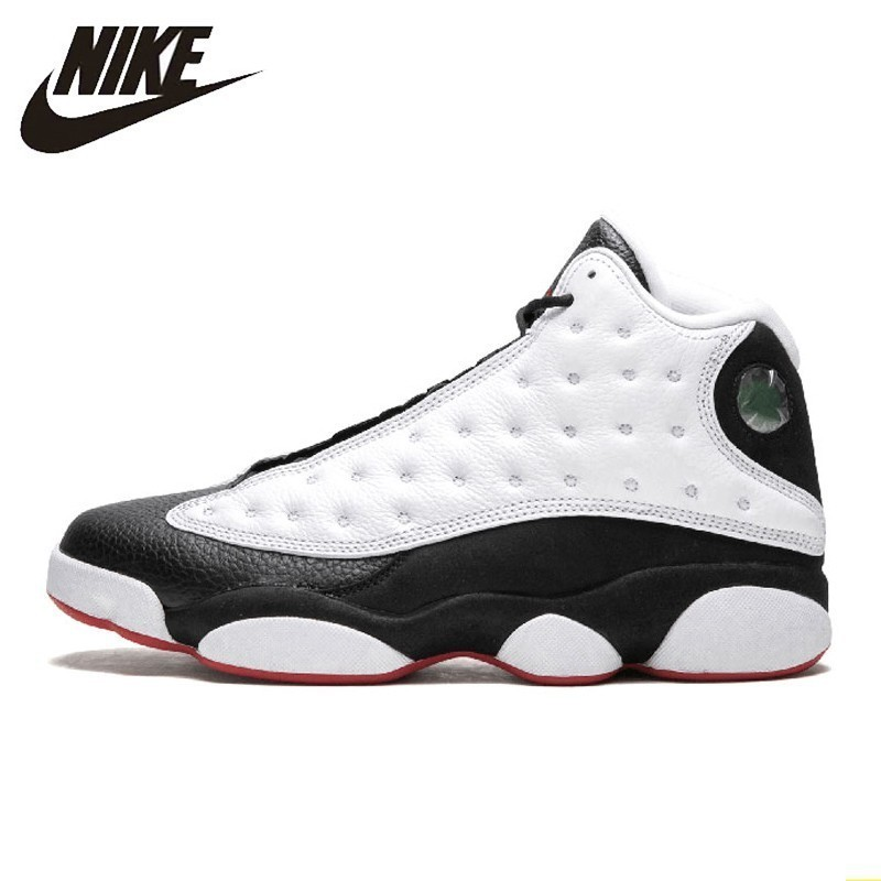 check out 2014e 68624 US $118.83 83% OFF|Nike Air Jordan 13 Aj13 New Arrival Men Basketball Shoes  Black And White Panda Motion Engraved Comfortable Sneakers #414571 104-in  ...