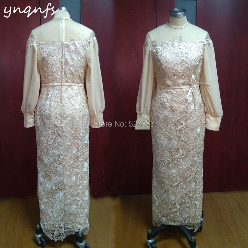 YNQNFS M121 Sheath Long Sleeve Ankle Length Champagne Mother Of The Bride Dresses Lace Gown Wedding Party Guest Dress 2019