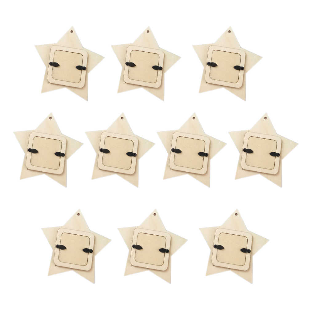10pcs/set Unfinished Wood Mini Photo Frame Picture Holder DIY Wooden Crafts Home Wall Decoration For Family Memory