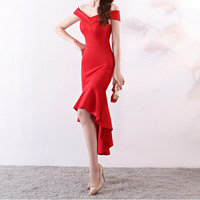 Toast Bride women dresses boat neck bare shoulders Fish Tail Marry Full Dress Long Sexy The Ceremony