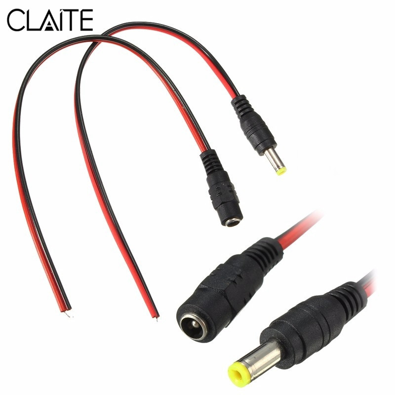 CLAITE DC12V Male/Female Power Supply Jack Connector Cable Plug Cord Wire 5.5mm X 2.1mm