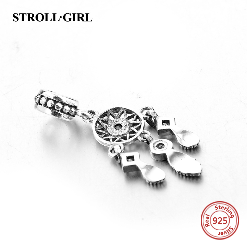 925 Sterling Gümüş Kulon Dream Catcher Charm uyğun Avropa - Moda zərgərlik - Fotoqrafiya 4