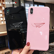 USLION Phone Case For iPhone XS Max XR X Cartoon Paper Plane Moon Stars Silicon Cases for iPhone 6 6s 7 8 Plus Soft TPU Cover(China)