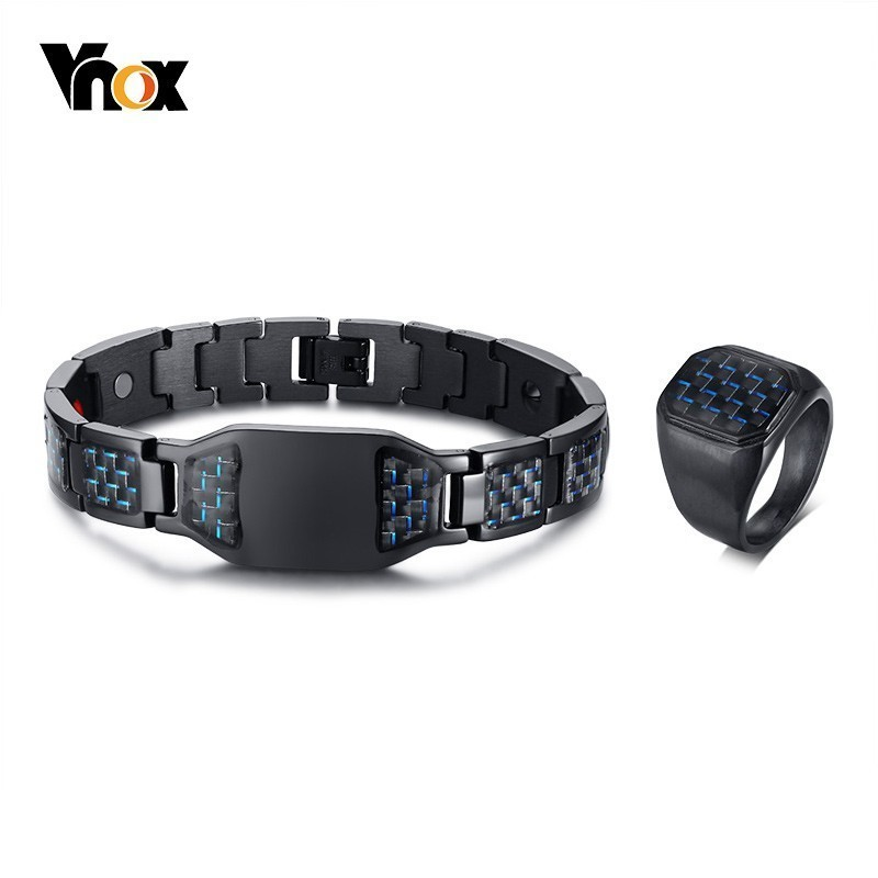 Carbon Fiber Diamontrigue Jewelry: Vnox Stylish New Carbon Fiber Rings And Health Magnetic