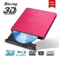 Blu Ray USB 3.0 External BD/CD/DVD Drive Burner Polished Metal Chrome For Mac/Windows 10/Laptop/PC Optical Drive Player Writer